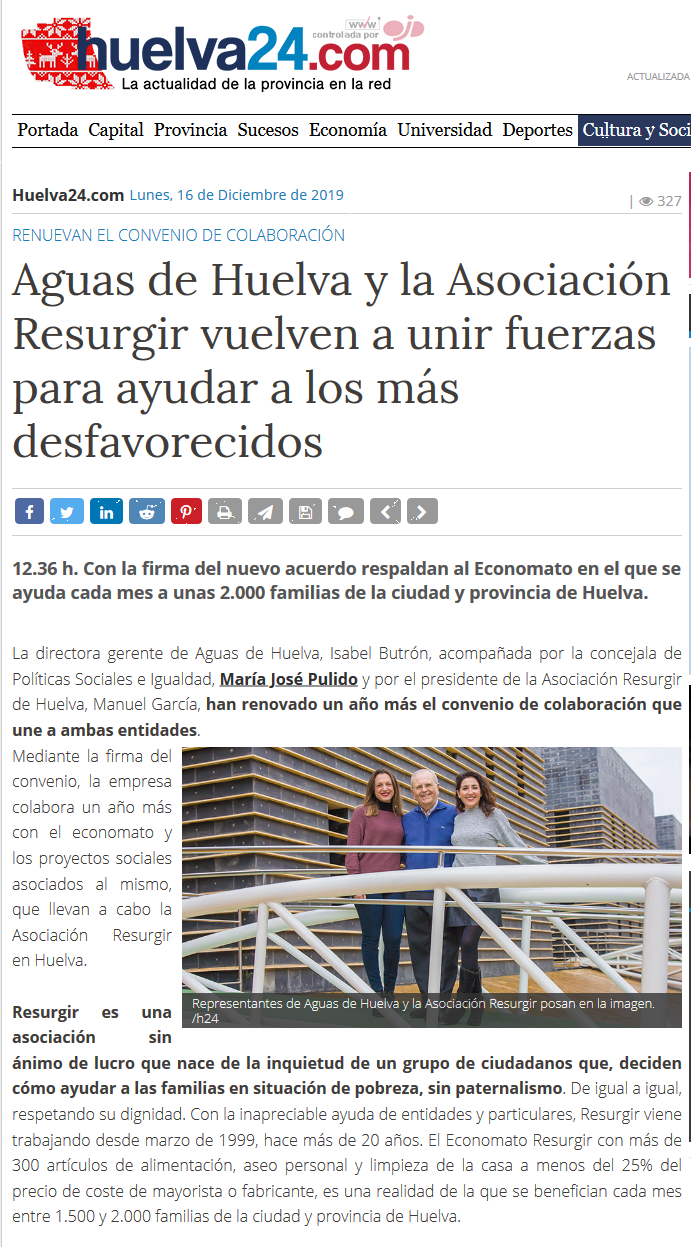 Aguas de Huelva y la Asociación Resurgir vuelven a unir fuerzas para ayudar a los más desfavorecidos