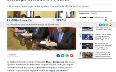 El Ayuntamiento ayuda a la Asociación Resurgir con 250.000 euros