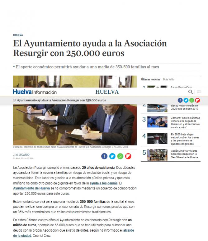 El Ayuntamiento ayuda a la Asociación Resurgir con 250 000 euros