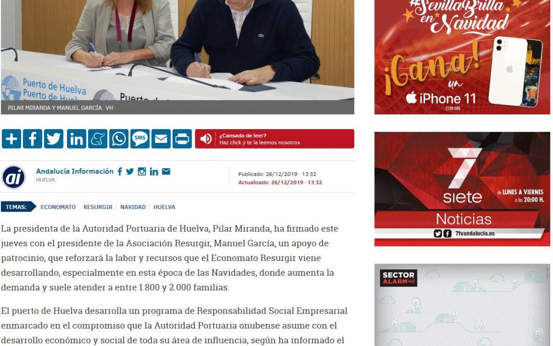 El Puerto de Huelva colabora con Resurgir para ayudar a 2.000 familias