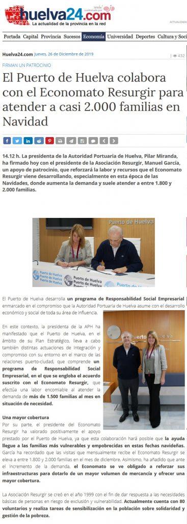 El Puerto de Huelva colabora con el Economato Resurgir para atender a casi 2 000 familias en Navidad