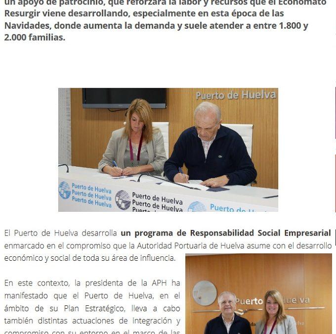 El Puerto de Huelva colabora con el Economato Resurgir para atender a casi 2.000 familias en Navidad