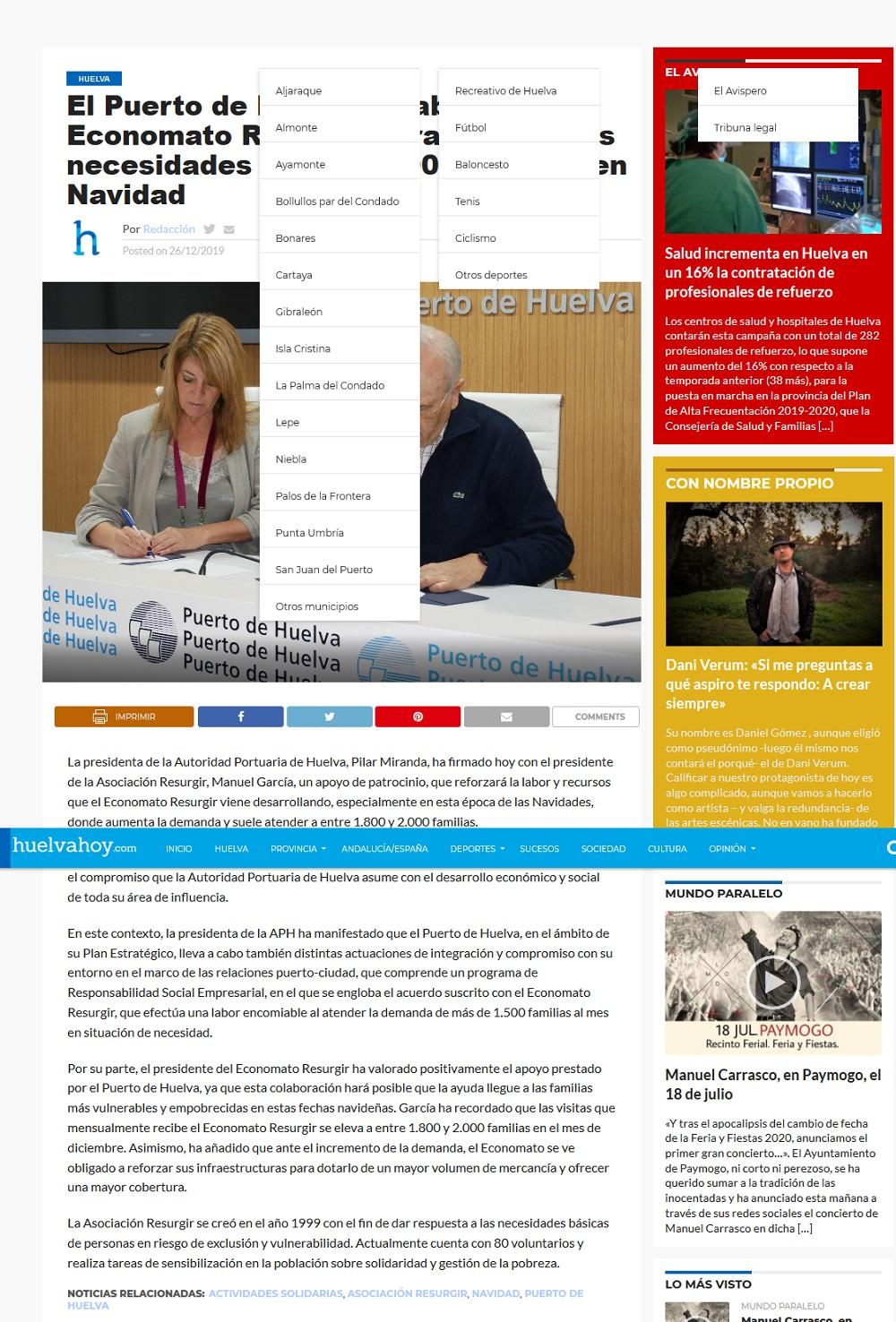 El Puerto de Huelva colabora con el Economato Resurgir para atender las necesidades de casi 2 000 fam[...]