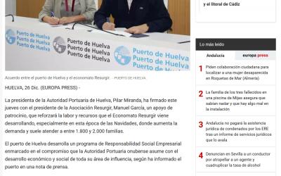 El Puerto de Huelva colabora con el economato Resurgir para ayudar a cerca de 2.000 familias en Navidad