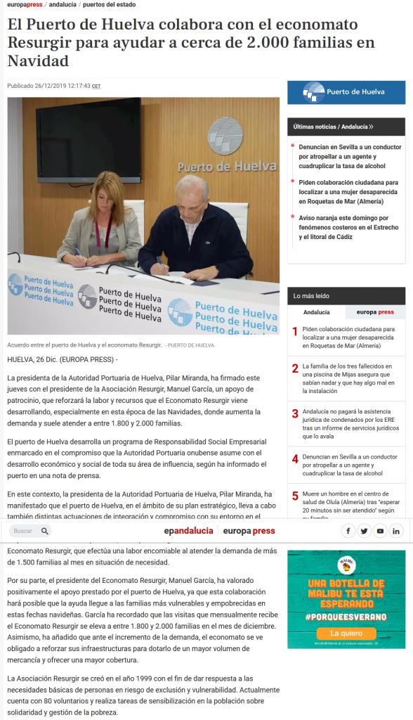 El Puerto de Huelva colabora con el economato Resurgir para ayudar a cerca de 2 000 familias en Navidad