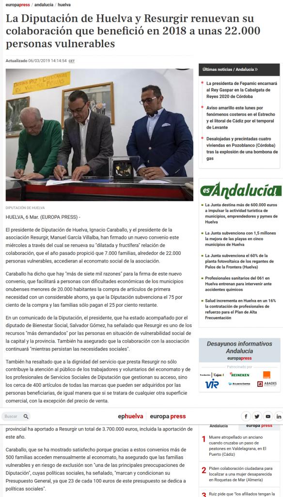 La Diputación de Huelva y Resurgir renuevan su colaboración que benefició en 2018 a unas 22 000 perso[...]