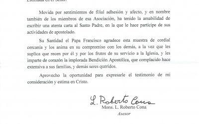 Carta de la Secretaría del Vaticano. 18 diciembre 2019